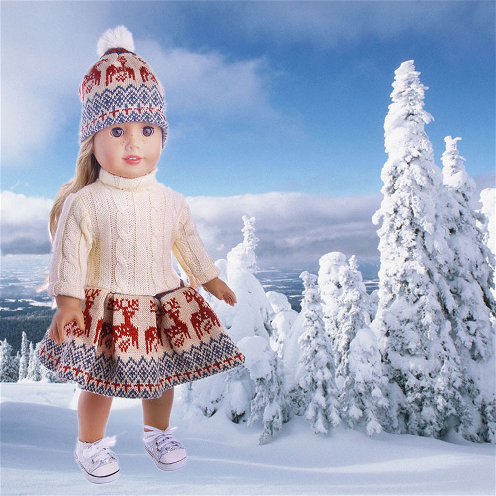 Cute Sweater Outfit Reindeer Snowman Sweater & Cap For 18'' American Girl Doll