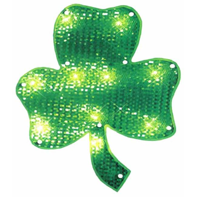 NorthLight 15 inch Lighted St.  Patricks Day Irish Shamrock Window Silhouette Decoration