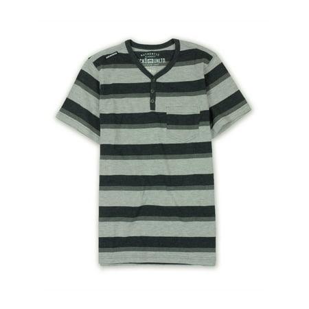 Ecko Unltd. Mens Heather Jsy Stripe Henley Shirt black S - image 1 de 1