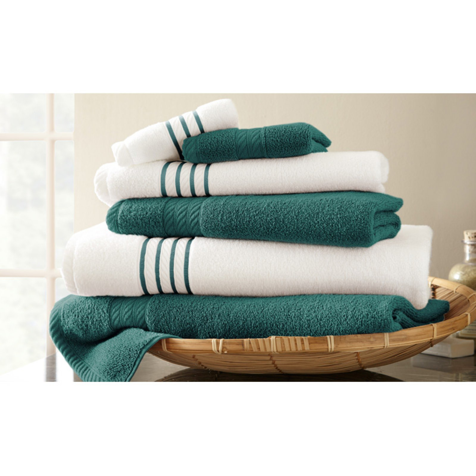 6 Piece Standard Quick Dry Stripe Contrast Towel Set by Amrapur Overseas Inc.