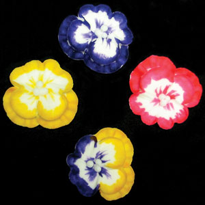 Pansies Multi Tone Asst. Royal Icing Cake/Cupcake Decorations 12 Ct