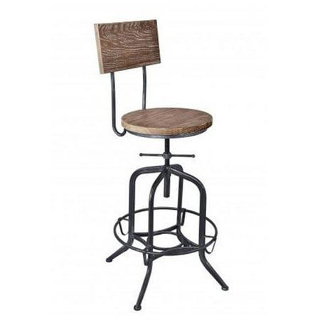 Armen Living LCMGSTSBPI Magnus Adjustable Barstool in Industrial Grey & Pine Wood