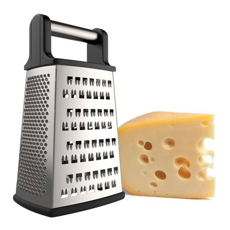 iCooker Cheese Grater [Stainless Steel] 4 Sided Box Grater - Zester for Vegetables, Fruits, Ginger,