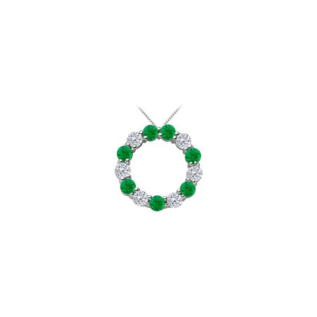 Green Natural Emerald and Diamond Circle Necklace in 14K White Gold 2 Carat Total Gem Weight - image 5 of 5