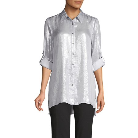 Splendid Scoop Neck Tunic Top - Metallic Roll-Tab Tunic