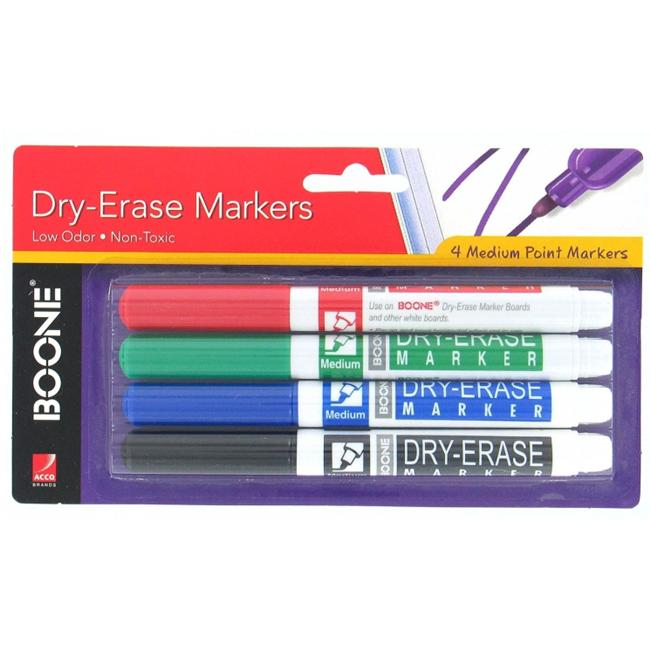 Quartet Boone Dry Erase Markers Assorted, 4-count (3-Pack)