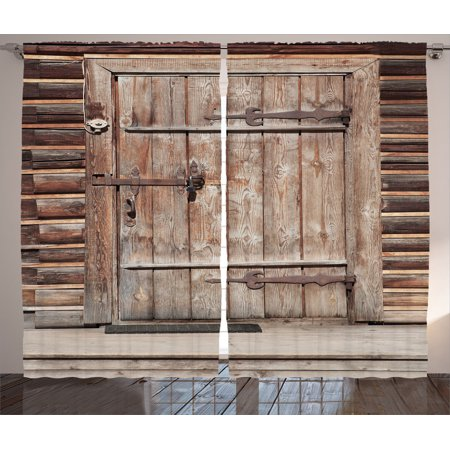 Rustic Decor Curtains 2 Panels Set, Timber Rustic Door In Wall Of An Old Log House Ancient Abandoned Building Entrance Gate Print, Living Room Bedroom Accessories, By