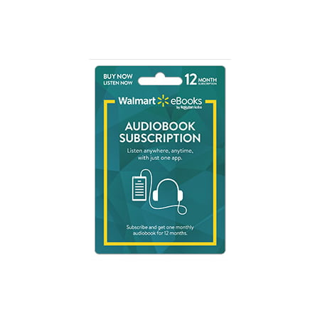 Walmart eBooks Audiobook Subscription – 12 Months (email delivery)