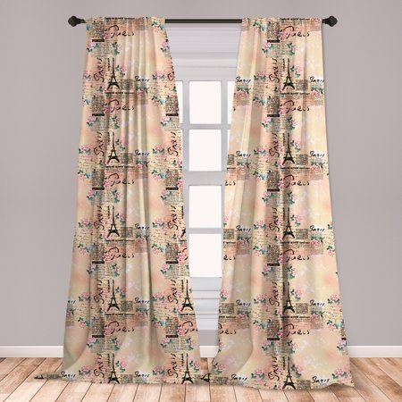 Modern Curtains 2 Panels Set, French Paris Themed Lettering with Floral Leaves Details Artwork, Window Drapes for Living Room Bedroom, Blue Black and Pale Pink, by Ambesonne ()