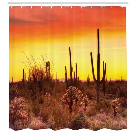 Saguaro Shower Curtain Eve Sky In Barren Land With Cactus And Odd Weeds All Around