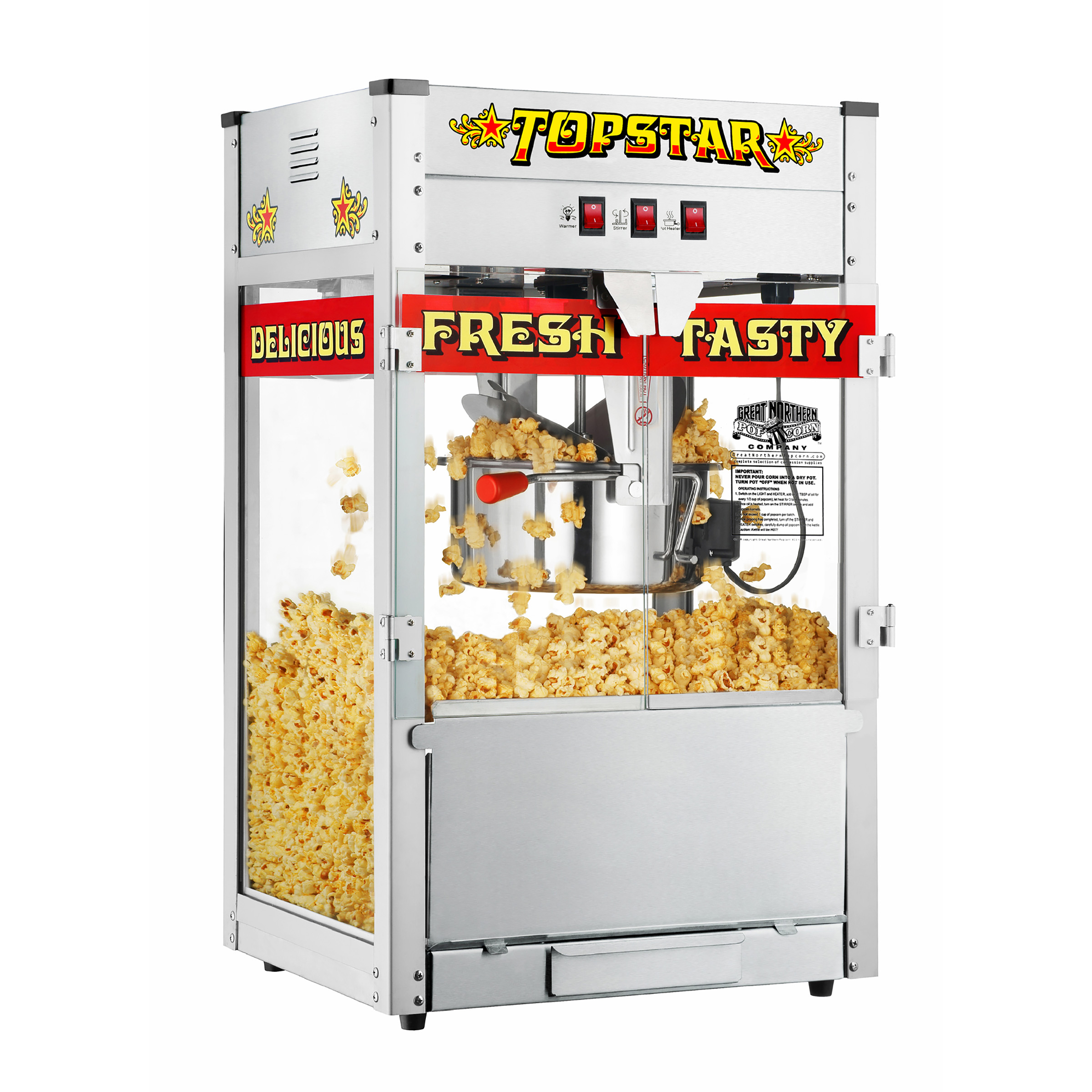 TopStar Commercial Quality Bar Style Popcorn Popper Machine, 12oz by Great Northern Popcorn