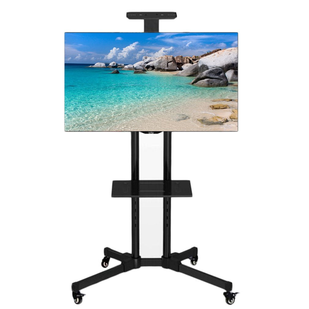 """TV Stand With Shelf,TV Mobile Mount Rack Stand with Wheels for 32"""" to 65"""" TVs,Black"""