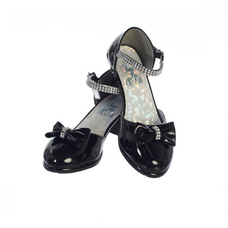 Girls Black Patent Rhinestone Strap Bella Dress Shoes