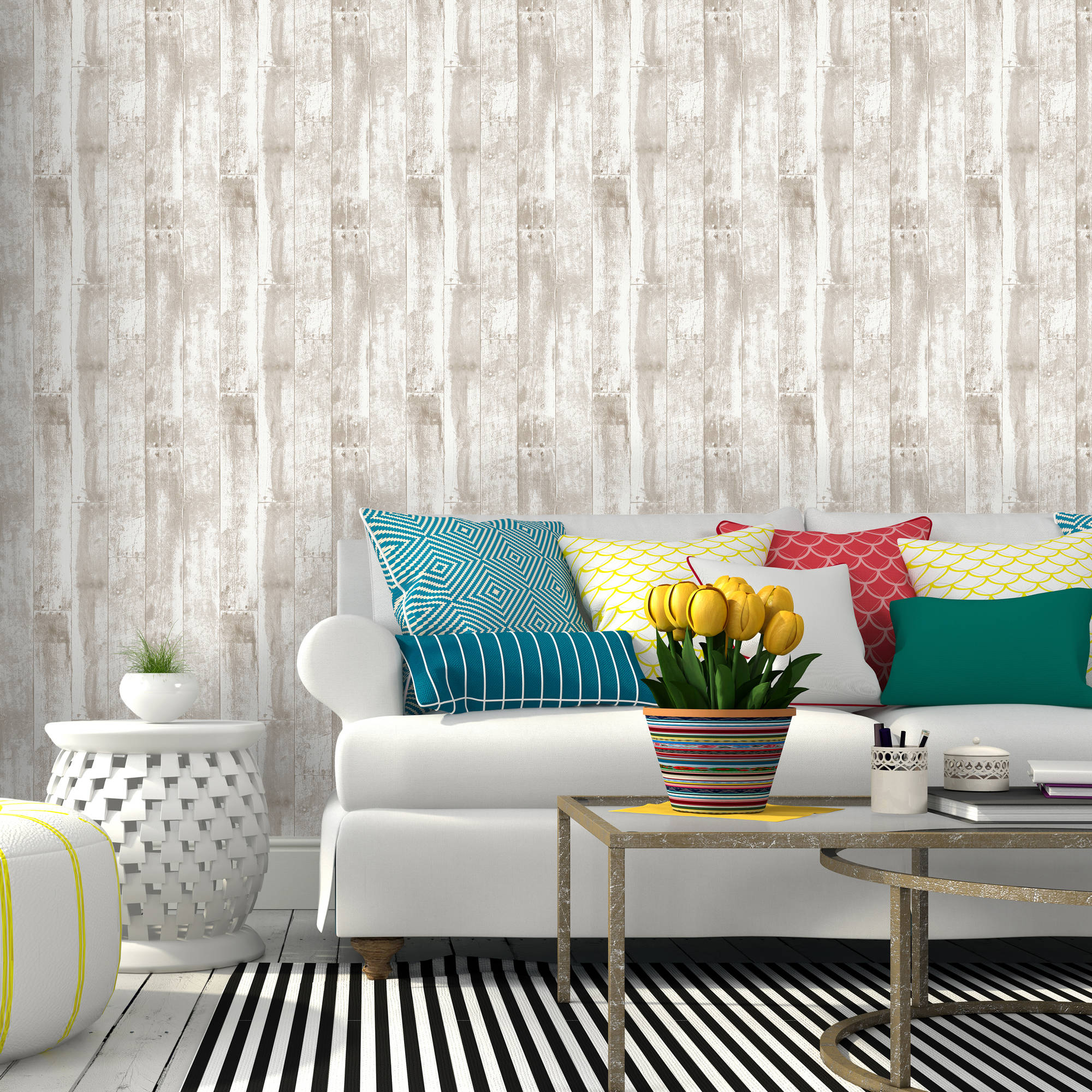 Repeel Removable Peel and Stick Wallpaper, Reclaimed Wood, Brown