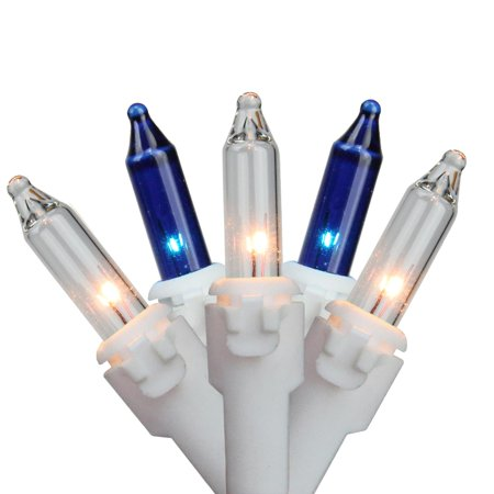 Set of 35 Blue & Clear Mini Christmas Lights 2.5 Spacing - White Wire