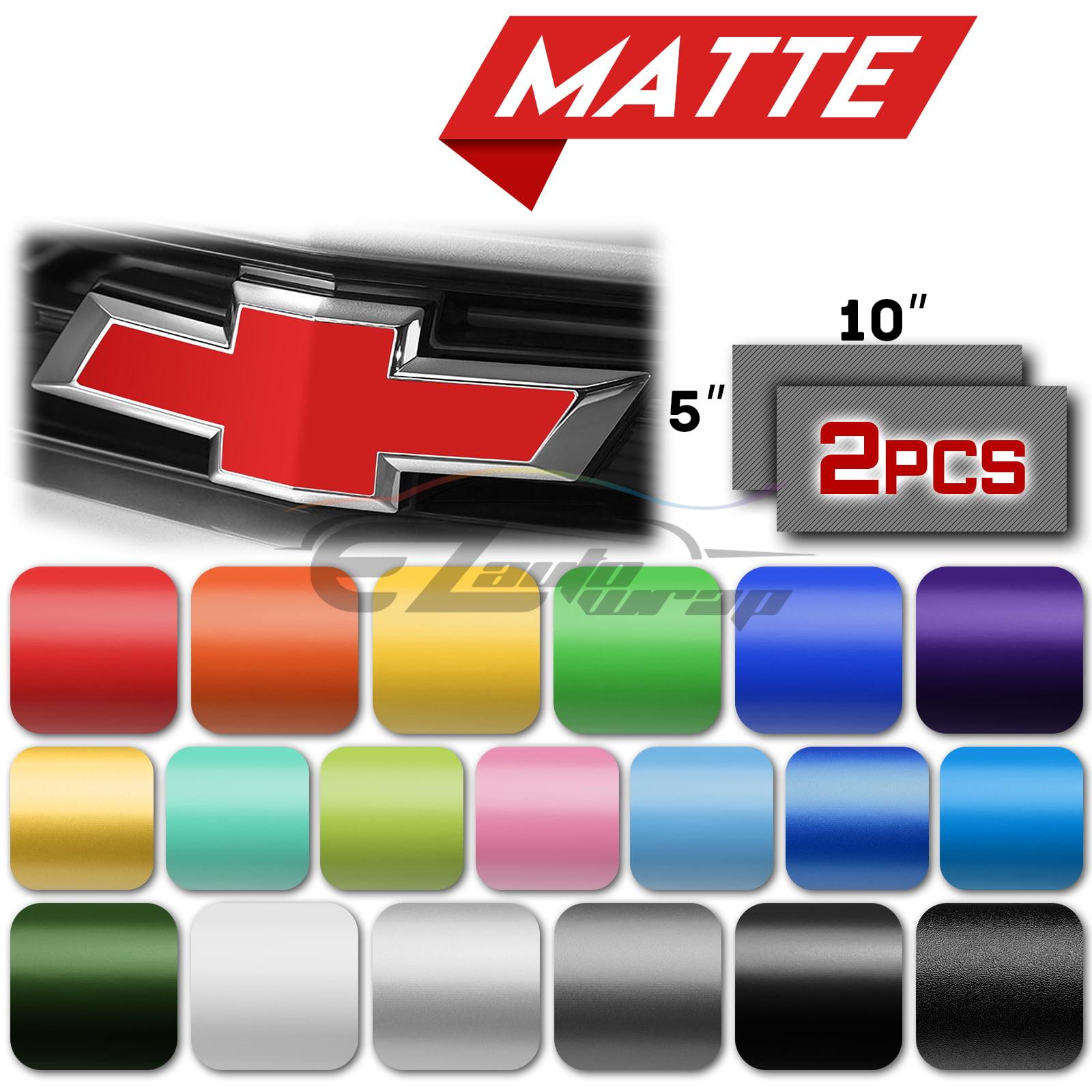 """2Pcs 5/""""x10/"""" Chameleon Color Shift Chevy Emblem Bowtie Vinyl Wrap Sticker Sheet"""