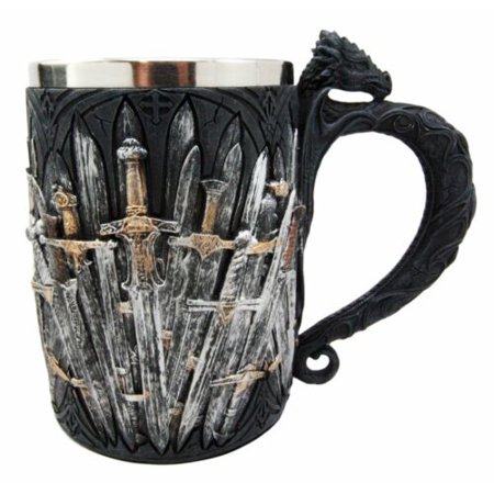 Ebros Gift Medieval Renaissance Dragon Iron Throne Of Swords Coffee Mug Drinking Beer Stein Tankard Cup Fantasy Dungeons And Dragons Drogon Elixir Of Life Valyrian Steel Blades - Halloween Drinking Gif