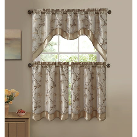 - VCNY Audrey 3-piece Kitchen Curtain Tier & Swag Set - Gold