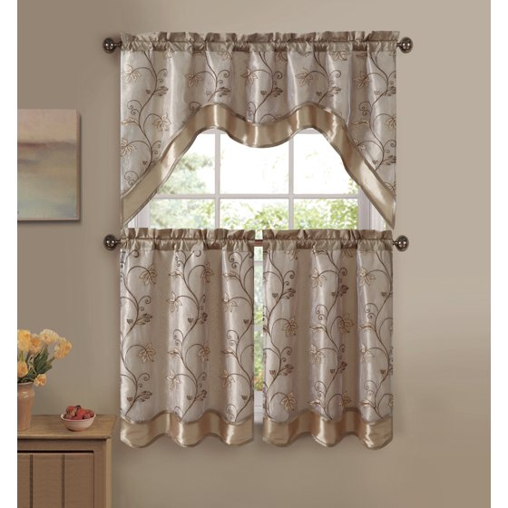 VCNY Audrey 3-piece Kitchen Curtain Tier & Swag Set