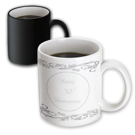 30th Anniversary Gifts (3dRose print of elegant silver 30th anniversary greeting, Magic Transforming Mug, 11oz )