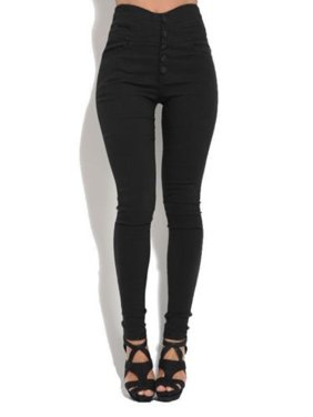 fa68cafe3e5be Product Image Womens Skinny Pencil Pants High Waist Button Up Stretch Slim  Fit Trousers Jeans