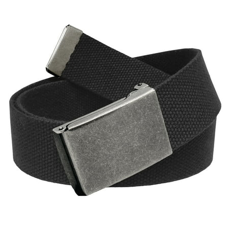 Men's Golf Belt in 1.5 Distressed Silver Flip Top Buckle with Canvas Web Belt Small (Tiger Woods Golf Belt)
