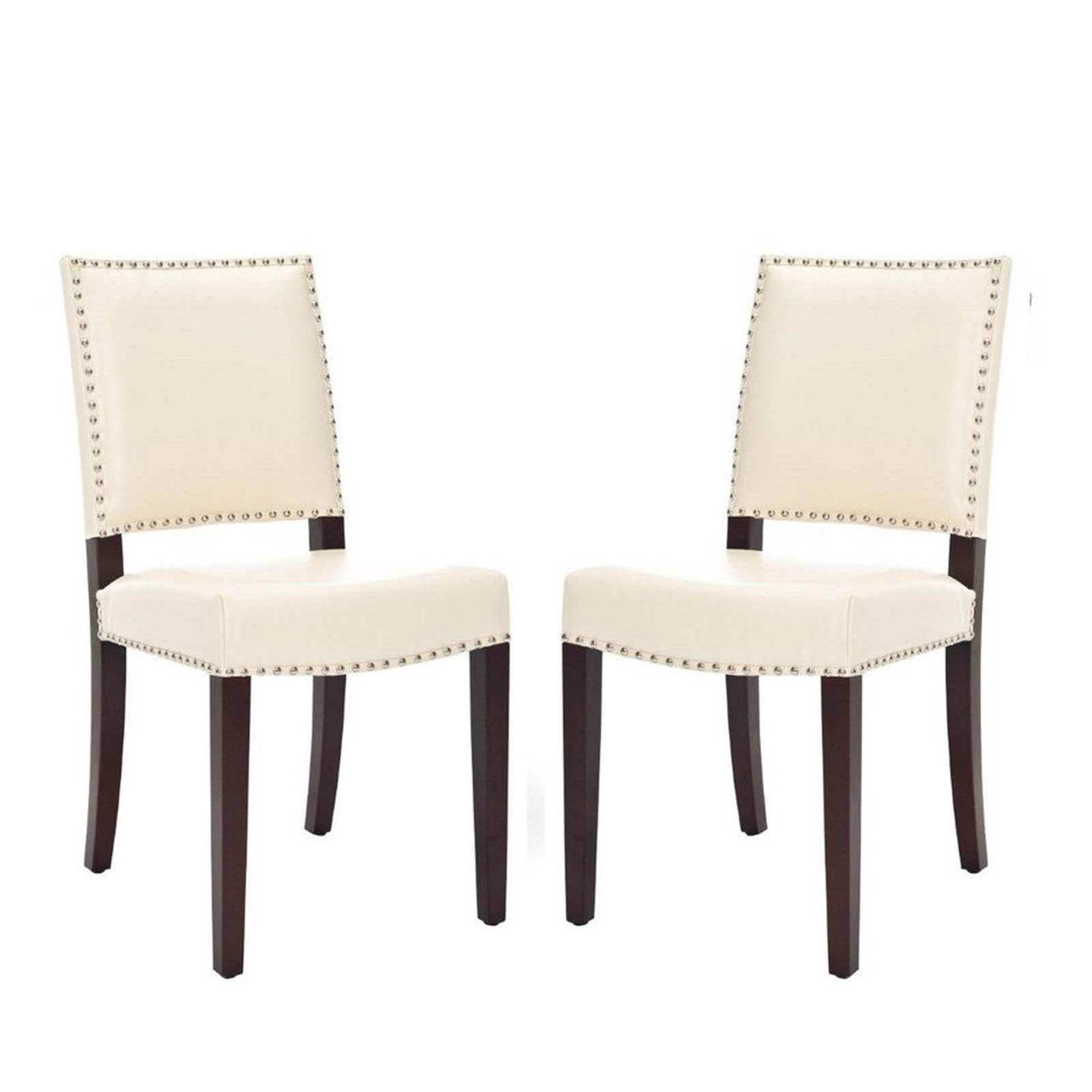 Safavieh Benjamin Cream Leather Nailhead Dining Side Chair - Set of 2