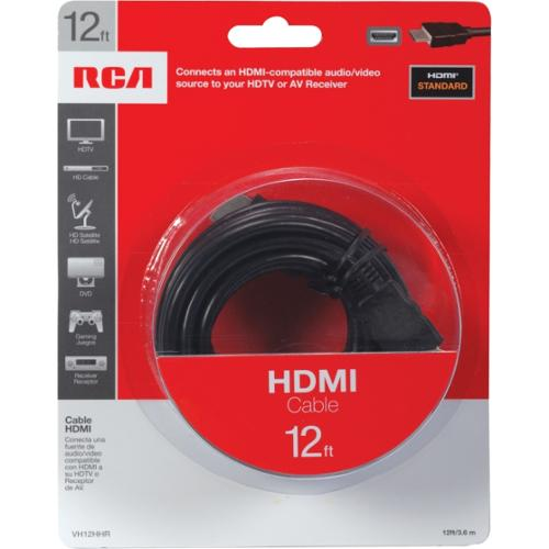 RCA VH12HHR 12 Ft HDMI Cable - HDMI for Audio/Video Device, TV, Gaming Console, Satellite Receiver, Digital Video Record