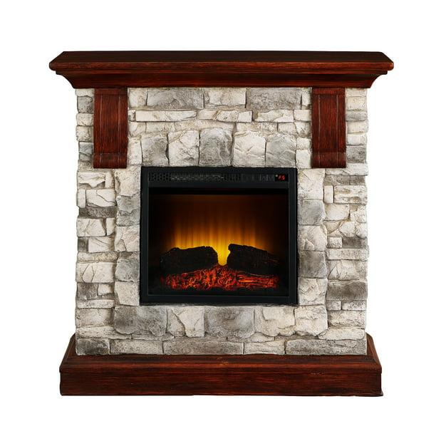 Bold Flame 40 Inch Faux Stone Electric Fireplace In Tan Grey Walmart Com Walmart Com