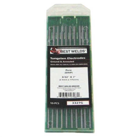 Pure Ground Tungsten Electrodes, 3/32 in Dia, 7 in Long