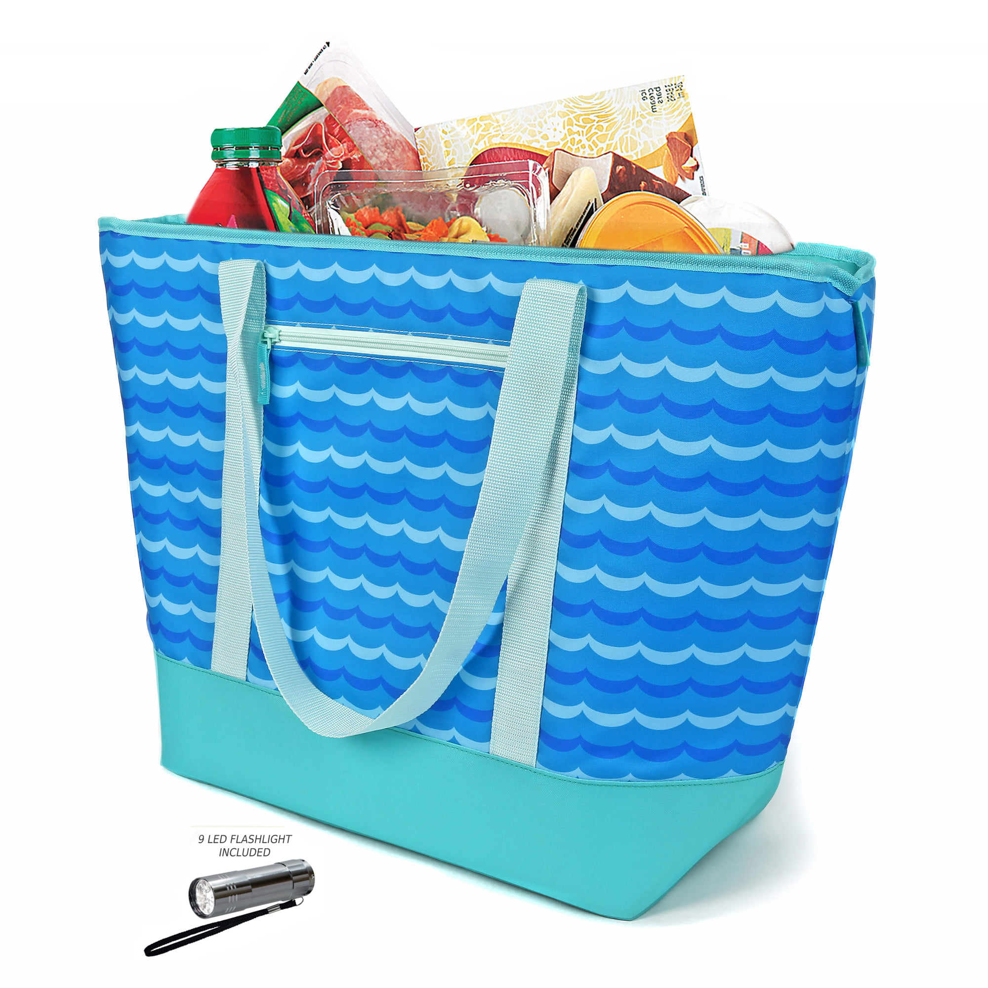 12 Gallon Insulated Mega Tote Blue Outdoor Picnic Cooler Bag for Camping, Sports, Beach,... by