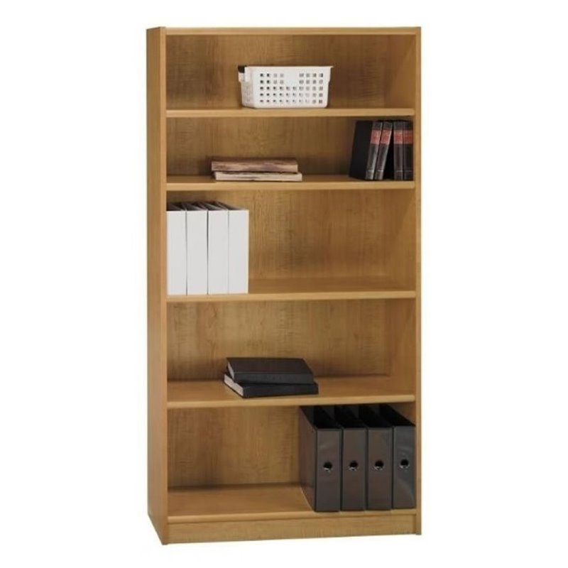 "Bowery Hill 72"" 5 Shelf Wood Bookcase in Snow Maple"