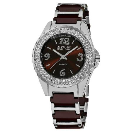 Women's Quartz Crystal Studded Bezel Ceramic Link Brown Bracelet Watch