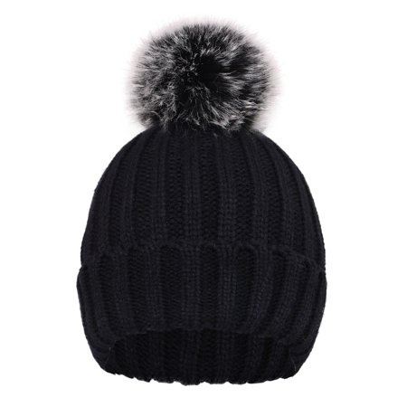 BASILICA - Mother Child Baby Women Warm Winter Knit Beanie Fur Pom Hat  Crochet Ski Cap - Walmart.com 2f43bdbe495f