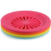 """20 Count 10"""" Reusable Plastic Paper Plate Holders, Heavy Duty for Picnic Supplies, 4 Colors"""