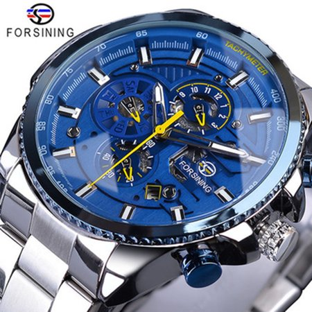 FORSINING Men Three Dials Stainless Steel Band Calendar Analog Watch Waterproof Automatic Mechanical Wrist -
