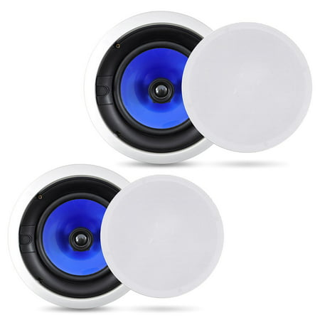 PYLE PIC8E - 8'' High Performance In-Wall / In-Ceiling Speakers, Dual 2-Way Stereo Speaker System, Pair (300 Watt)