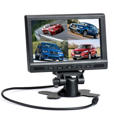 "Podofo 7"" TFT LCD Split Screen Quad Car Monitor 4 Channels Video Input for Backup Camera System Support Micro SD Card DVR"