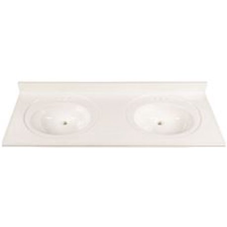 Bathroom Vanity Cream Marble (Bathroom Vanity Top With Double Recessed Bowl, Cultured Marble, Solid White, 22X61 In. )