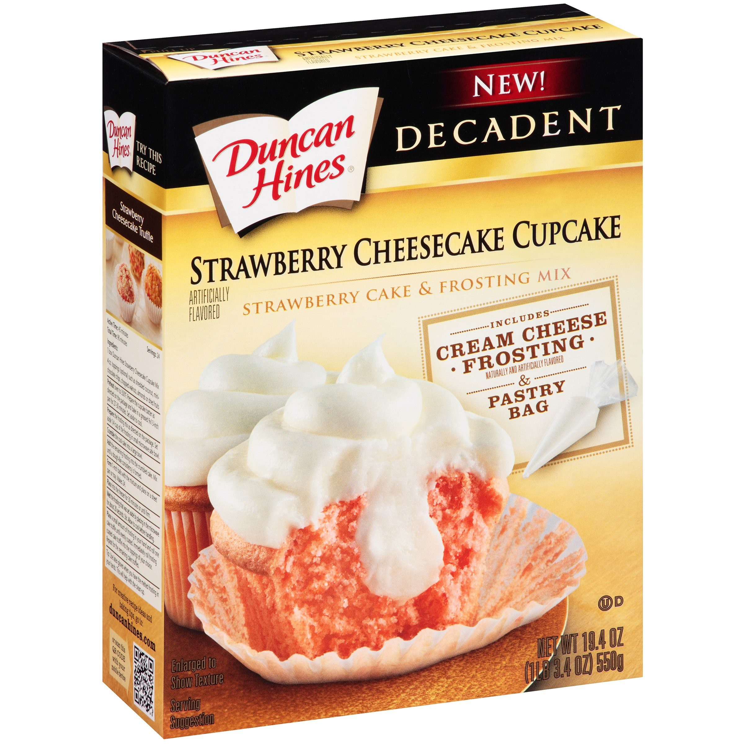 Duncan Hines® Decadent Strawberry Cheesecake Cupcake & Frosting Mix 19.4 oz. Box