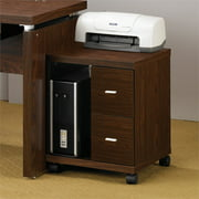 Bowery Hill 2 Drawer Printer Stand in Medium Oak and Silver