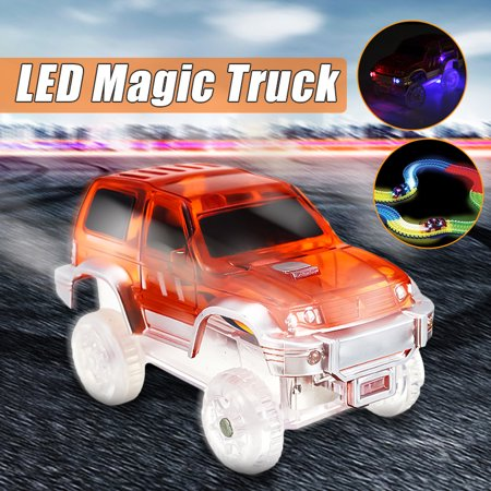 LED Light Up Electric Special Car for Magic Tracks Shining Race with Flashing Lights Children Gift
