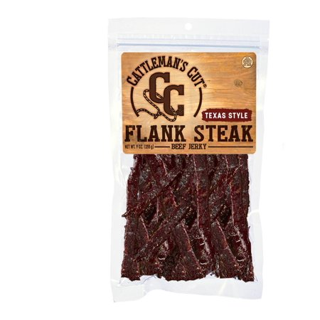 Cattleman's Cut Texas Style Flank Steak, Beef Jerky, High Protein Snack, 9