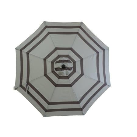 Premium Market Outdoor Patio Umbrella- GREY STRIPES (Crank & Tilt) STAND SOLD SEPARATELY