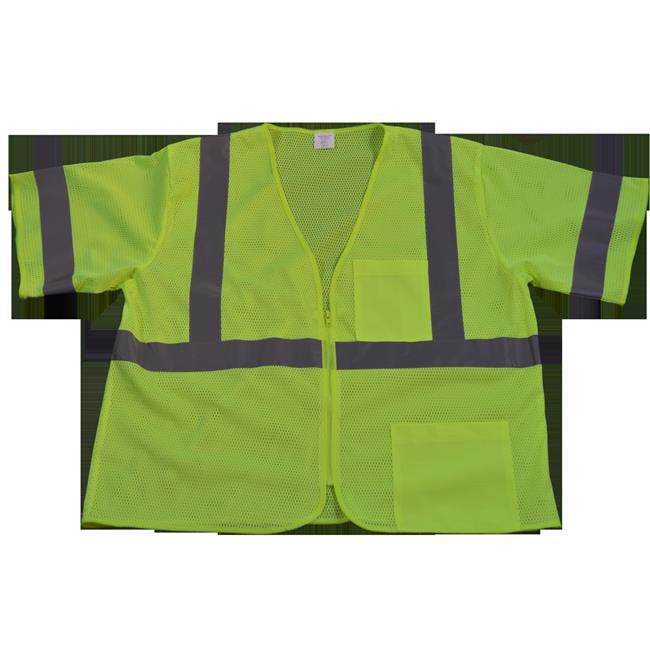 LVM3-Z-S-M Safety Vest Ansi-Isea Class 3 Lime Mesh Zipper Closure 2 Pockets, Small & Medium