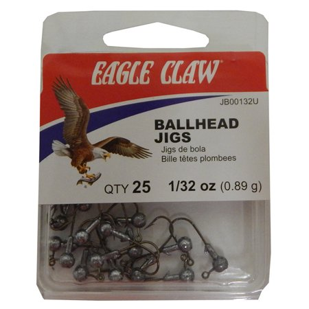 Eagle Claw Ballhead Jig Unpainted Size 1/32 Ounce Pack of 25, JB00132UH