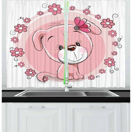 Dog Curtains 2 Panels Set, Cute Little Puppy with Daisy Flowers Cheerful Adorable Domestic Pet Girls, Window Drapes for Living Room Bedroom, 55W X 39L Inches, Pale Pink Coral White, by Ambesonne