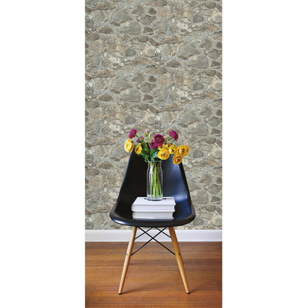 Roommates weathered stone peel and stick wall d cor for Peel and stick wallpaper walmart