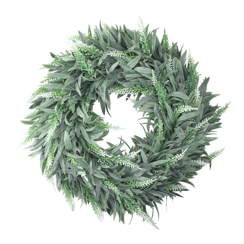 "14"" Artificial Dusty White Decorative Springtime Wispy Lavender Wreath"