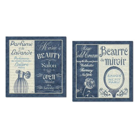Lovely Dark Blue and Cream French Perfume and Mirror Beauty Salon Set by Pela Studio; Two 12x12in Poster Prints Beauty Salon Art